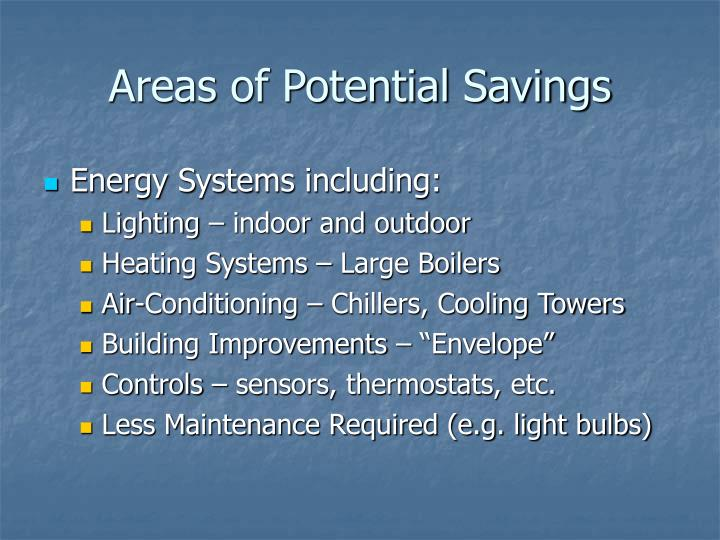 Areas of Potential Savings