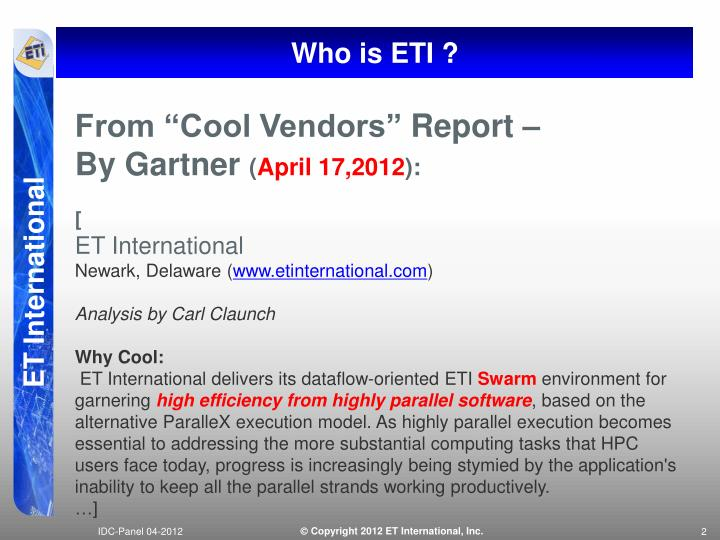 Who is ETI ?