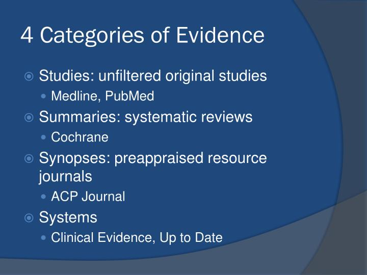 4 Categories of Evidence