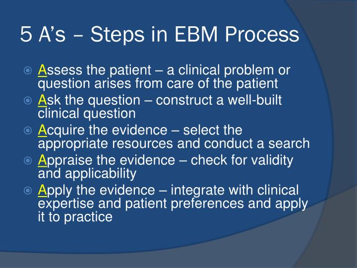5 A's – Steps in EBM Process