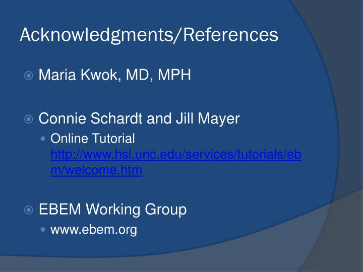 Acknowledgments/References