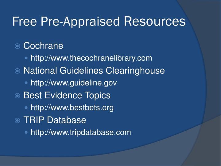 Free Pre-Appraised