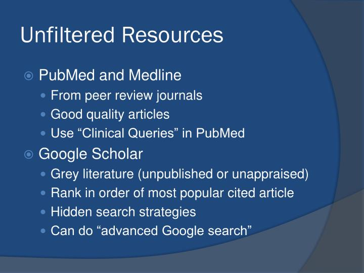 Unfiltered Resources