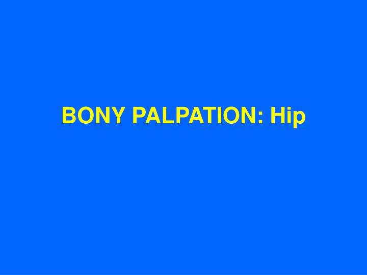 BONY PALPATION: Hip