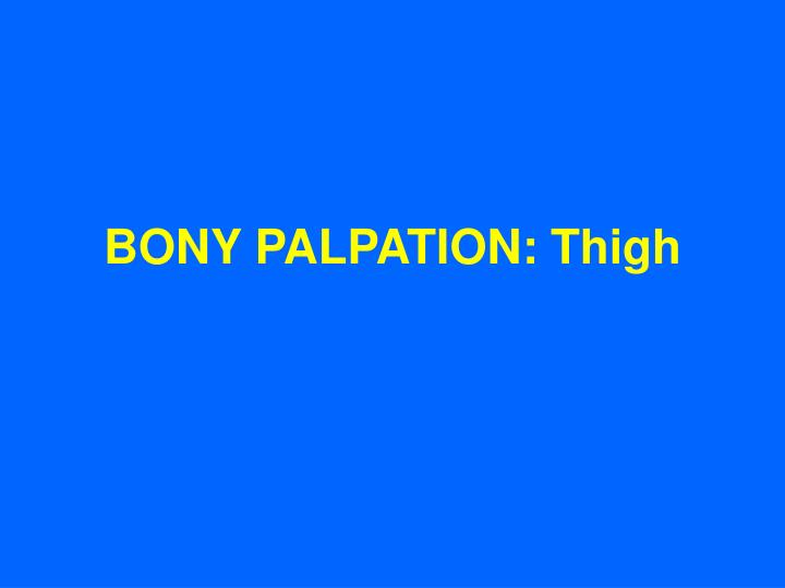 Bony palpation thigh