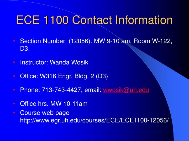 Ece 1100 contact information