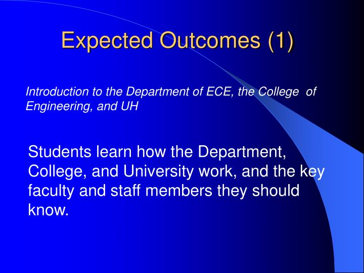 Expected Outcomes (1)