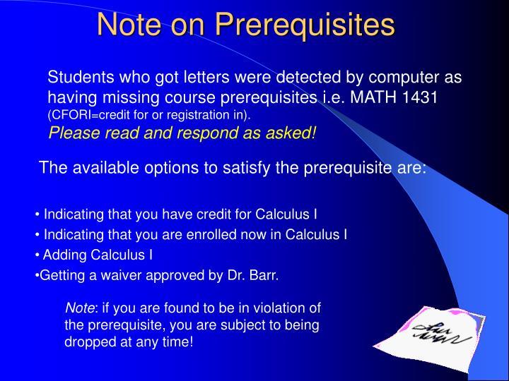 Note on Prerequisites