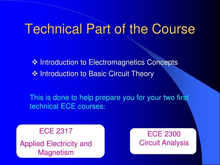 Technical Part of the Course