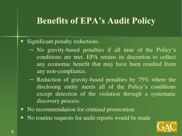 Benefits of EPA's Audit Policy