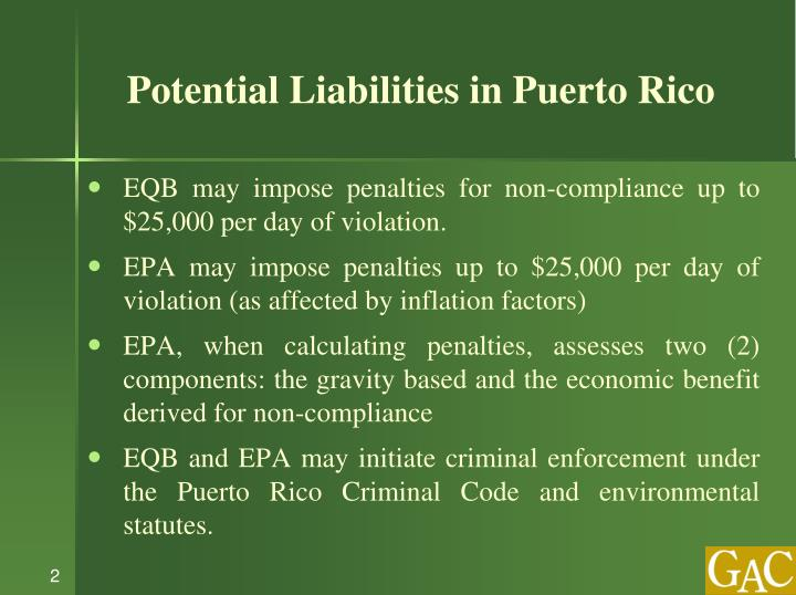 Potential Liabilities in Puerto Rico