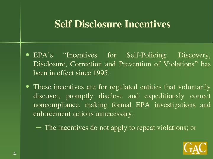 Self Disclosure Incentives
