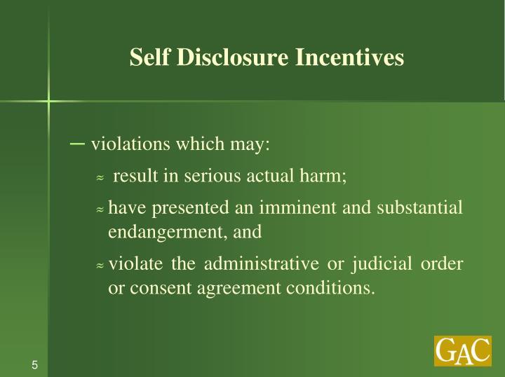 Self Disclosure Incentives