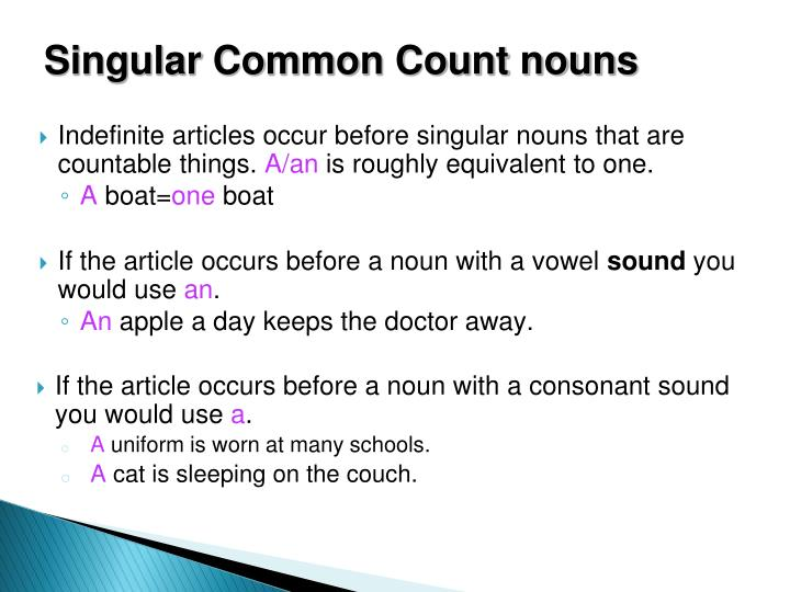 Singular Common Count nouns