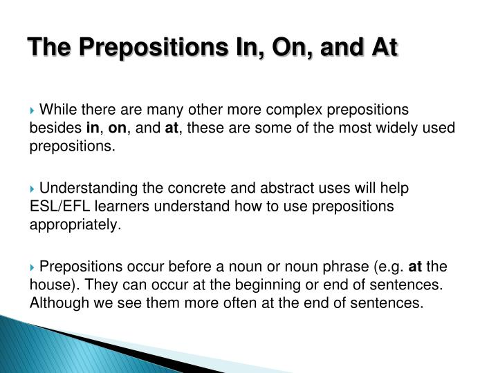 The Prepositions In, On, and At