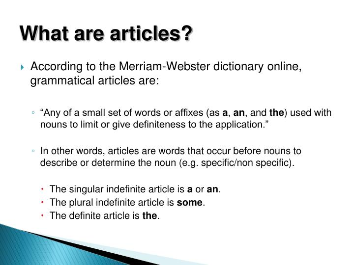 What are articles?