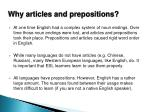 why articles and prepositions