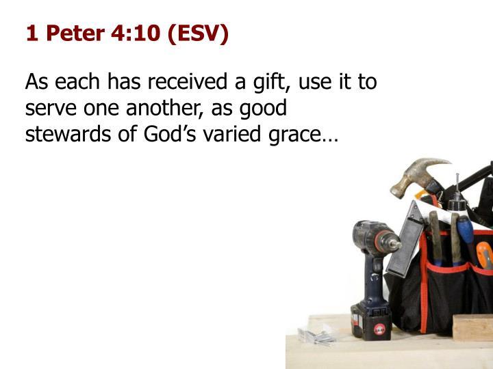 1 Peter 4:10 (ESV)