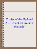 copies of the updated alp checklist are now available