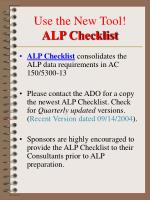 use the new tool alp checklist