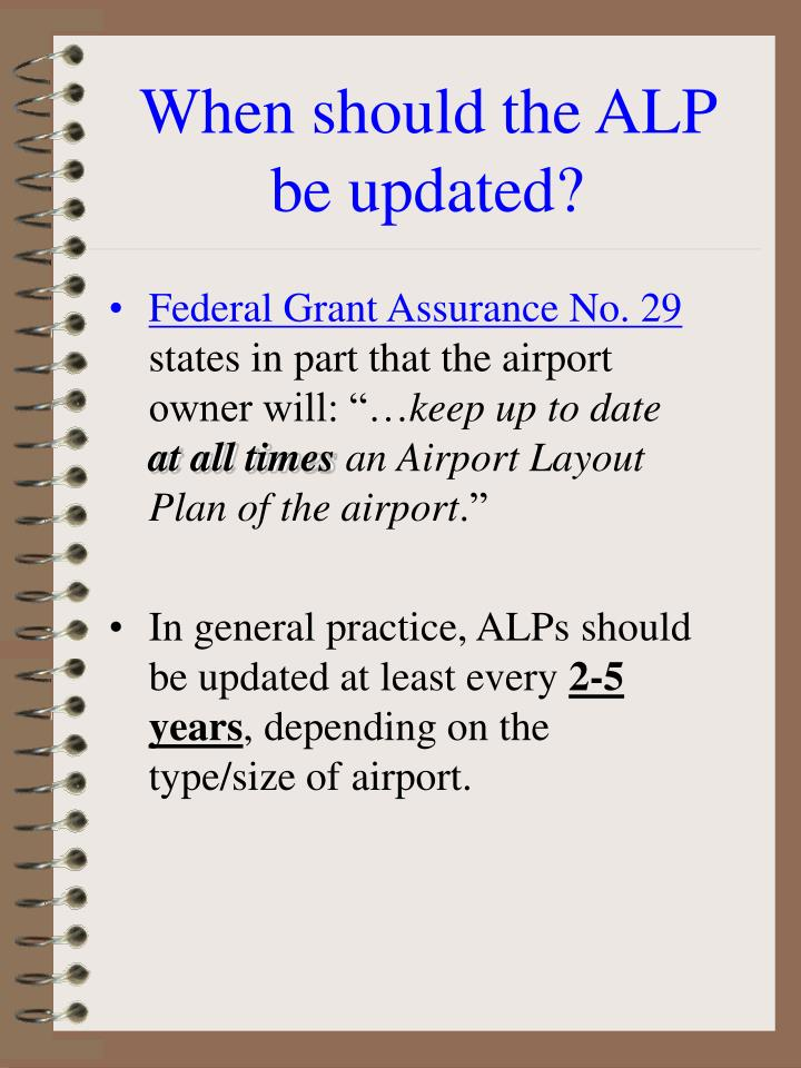 When should the ALP be updated?