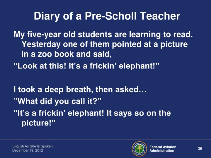 Diary of a Pre-Scholl Teacher