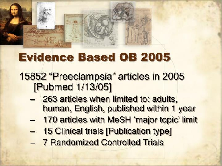Evidence Based OB 2005
