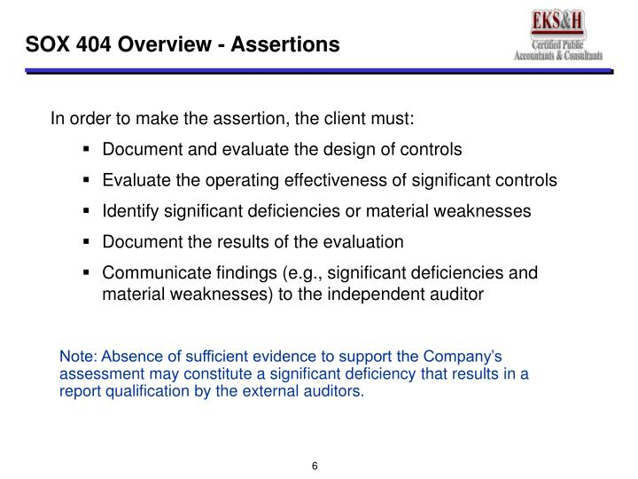 SOX 404 Overview - Assertions