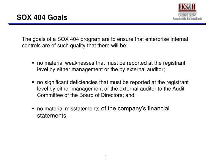 SOX 404 Goals