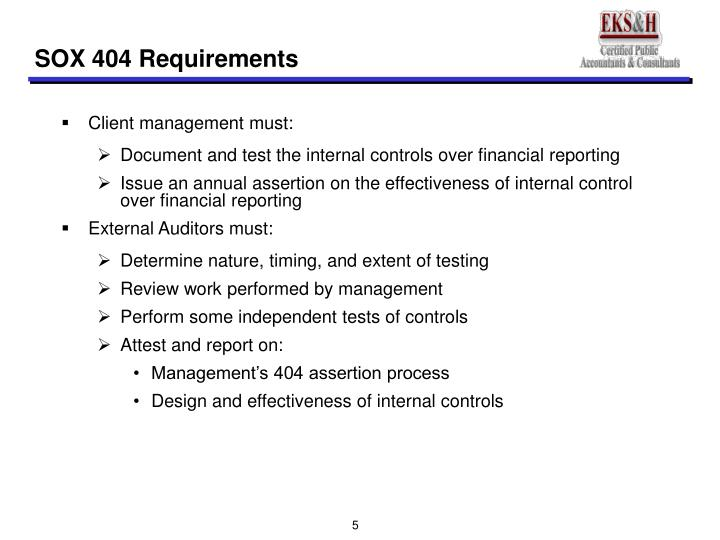 SOX 404 Requirements