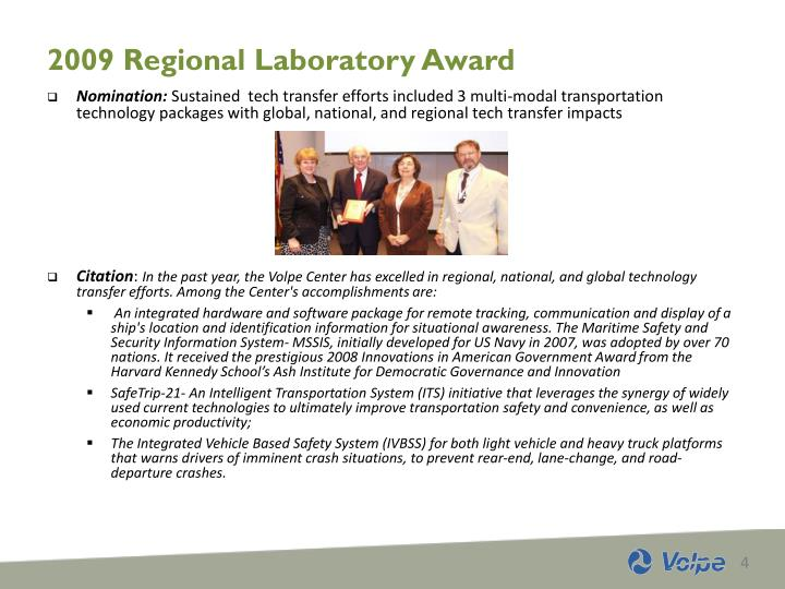 2009 Regional Laboratory Award