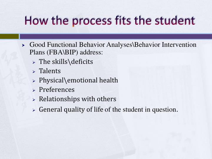 How the process fits the student