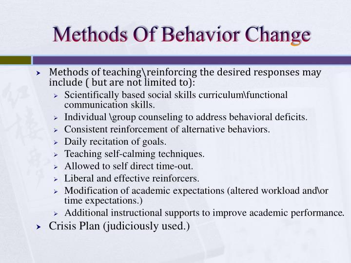 Methods Of Behavior Change