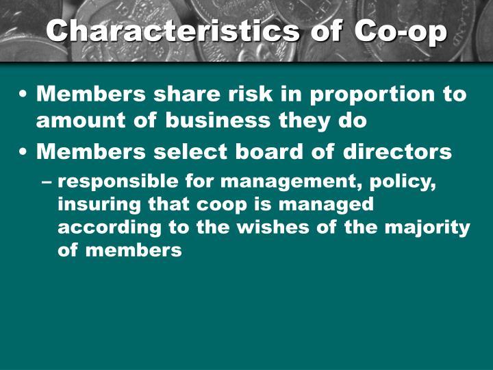 Characteristics of Co-op