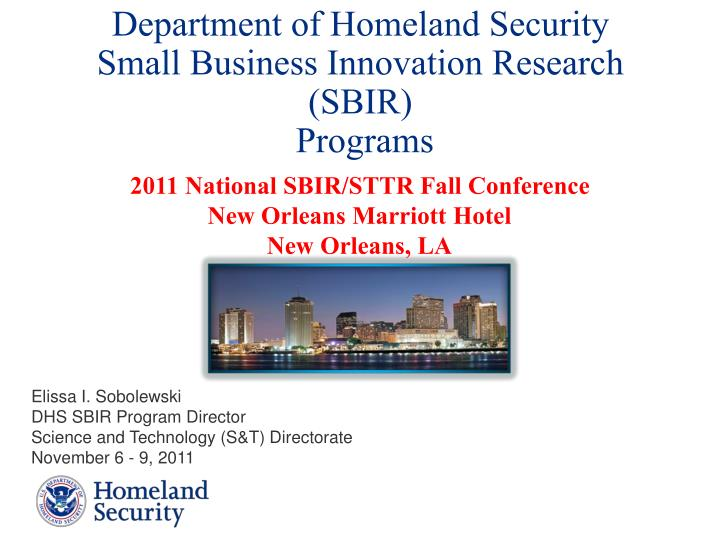 Department of homeland security small business innovation research sbir programs