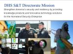 dhs s t directorate mission