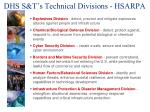 dhs s t s technical divisions hsarpa