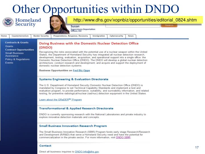 Other Opportunities within DNDO