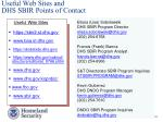 useful web sites and dhs sbir points of contact