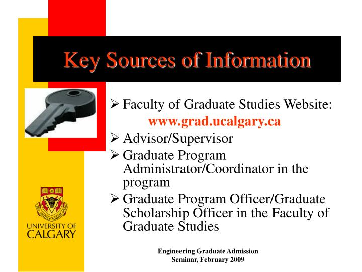 Key Sources of Information