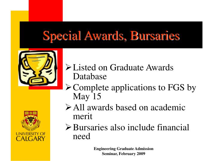 Special Awards, Bursaries