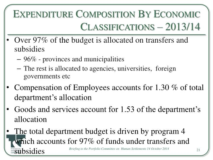 Expenditure Composition By Economic Classifications – 2013/14