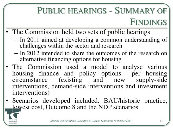Public hearings - Summary of Findings