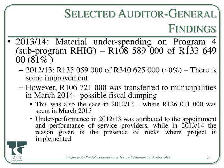 Selected Auditor-General Findings