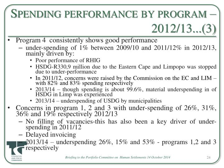 Spending performance by program – 2012/13...(3)