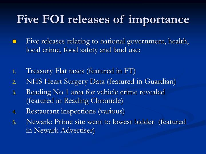 Five FOI releases of importance
