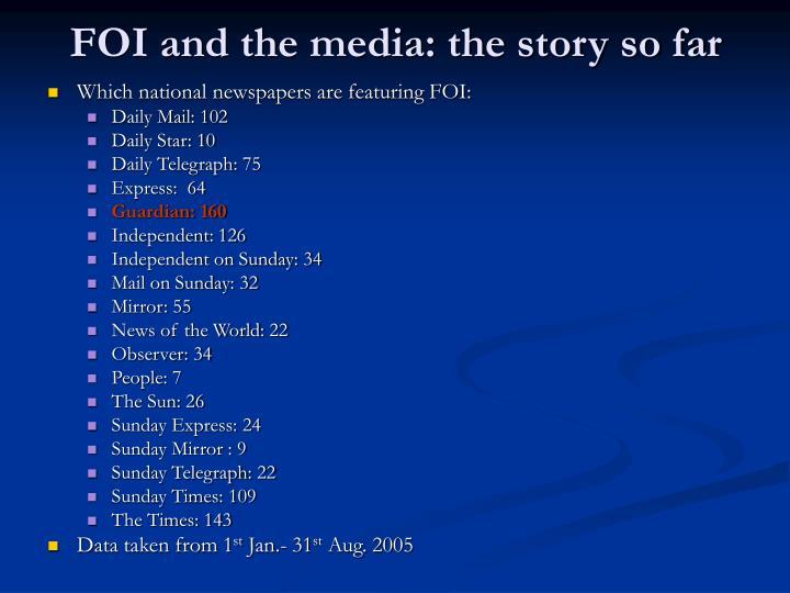 FOI and the media: the story so far