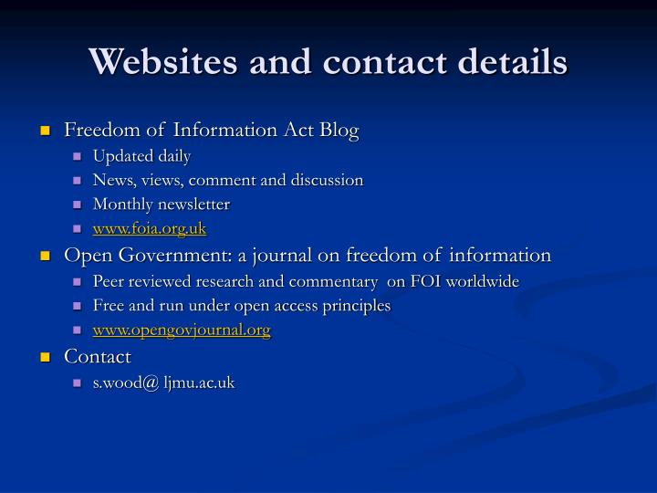 Websites and contact details
