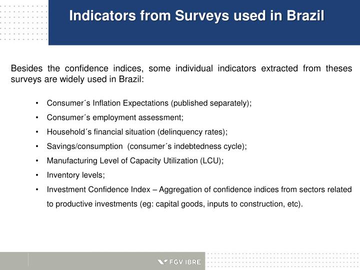 Indicators from Surveys used in Brazil