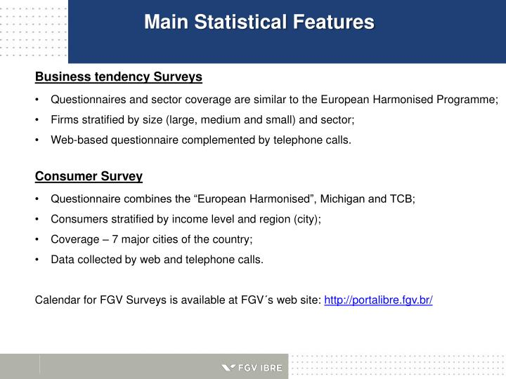 Main Statistical Features